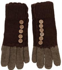 Strick Handschuhe mit Knöpfen Braun