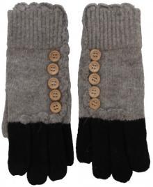 Strick Handschuhe mit Knöpfen Grau/Schwarz