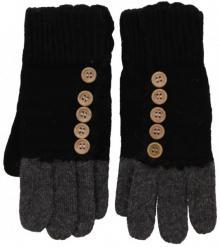 Strick Handschuhe mit Knöpfen Schwarz/Anthrazit