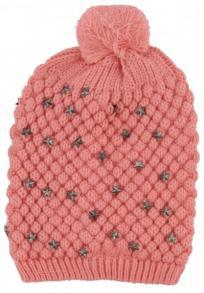 Kuschelige Bommelmütze Rosa/Lachs