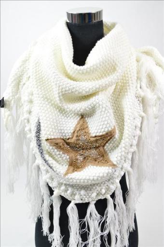 XL Dreieck Schal/Cape/Stola weiß