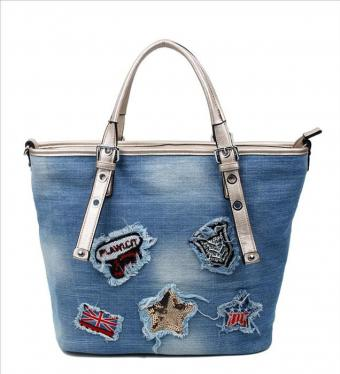 "Tasche ""Patches"" blau/gold"