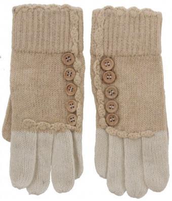 Strick Handschuhe mit Knöpfen Beige