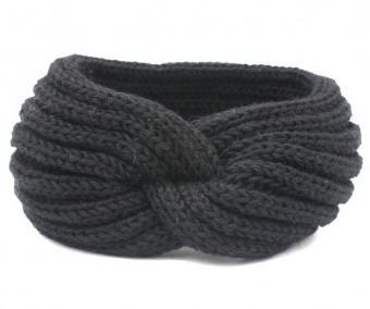 Strick Stirnband / Ohrenwärmer Grau